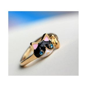 La nueva gota de anillo de diamante de cristal de aceite Moda Bule Eyes Anillo de gato Anillo de apertura al por mayor envío 0rbgy j0lfu