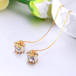 2020 New Elegant Rhinestone Crystal Pendant Long Pendientes Mujer Moda Fashion CZ Stone Statement Temperament Drop Earrings