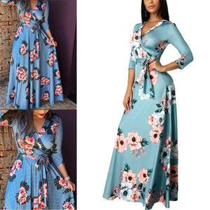 Floral Deep V-neck Dress Fashion Autumn New 3 4 Sleeve Loose Dresses Designer Summer Female Casual Long Dress Clothes Women