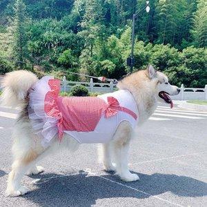 큰 개 드레스 공주 애완 동물 드레스에 대 한 중형 대형 개 의상 격자 무늬 애완 동물 의류 개 스커트 드레스 Disfraz Perro Labrador 201028
