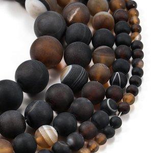 1trand lot 4 6 8 10 12mm Café mat de 12 mm Agate Beads Pierre Ronde Perle en vrac pour Bracelet Bijoux Fournitures Fournitures en gros H WMTQCT