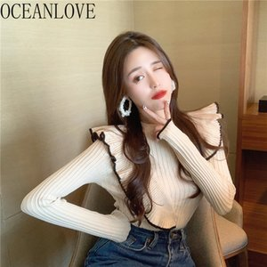 Oceanlove Ruffles Pull Femme HIVE Vintage Slim Solid Otoño Invierno Clohtes Mujeres Suéteres Coreanos Pullovers Tops 18824 201128