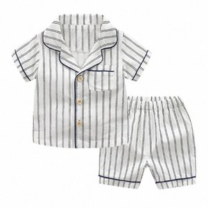 Baby-Baby-Kind-Short Sleeve Striped Tops + Shorts Pyjamas Outfit Set Kinder Sets Kleidung Babykleidung Freizeit-Outfits ivvc #