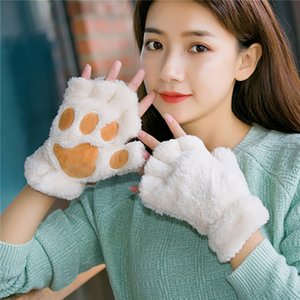 Fingerless Plush garment gloves   124; hot gloves, fluffy bearded claws   animal cat legs, soft and warm, lovely and lovely woman, half fing