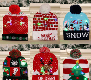 عيد الميلاد الحلي الأطفال الكبار محبوك قبعة عيد الميلاد مضيئة محبوك قبعة ملونة أعلى درجة عيد الميلاد قبعة