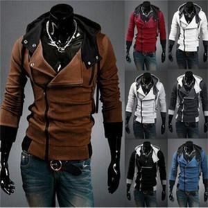 Hot style assassins creed fleece inclined zipper hooded fleece jackets men's fleece single male 201021