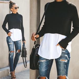 Designer Autumn Womens Painéis Camisolas Moda Crew Neck Tops com botão Feminino Sexy pulôver vestuário