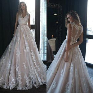 2021 Ivory Full Lace A Line Wedding Dresses Deep V Neck Country Style Lace Appliqued Bridal Gowns Custom Made Tulle Wedding Dress
