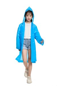 Kids Raincoat Transparent Waterproof Reusable Lightweight Solid Color raincoats for 6-12 years old boys and girls