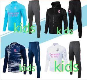 2020 bambini di Real Madrid rivestimento di calcio della tuta Survêtement 19 20 21 Real Madrid PERICOLO CHANDAL bambini giacche calcio pieno cerniera sportsw
