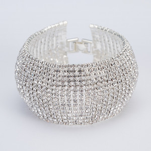 Yfjew Moda Full Strass Gioielli per le donne Classic Crystal Pave Link Braccialetto Braccialetto Bangle Accessori per feste di nozze 318 J2