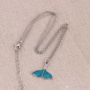 queue de poisson Collier océan Blue Sea Whale Tail sirène Colliers Pendentif Magnifiquement luxe Bijoux Colliers lumineux