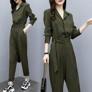 Artı Kadınlar Bahar Güz Uzun Kollu Ordu Green Casual Gevşek Uzun Pantolon Suit Moda Lady Giyim için Boyut Tulumlar ve tulum