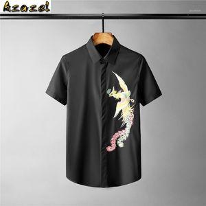 Azazel Solid Color Homme Chemises Luxe 3D Broderie à manches courtes Robe Mens Hommes Shirts Plus Taille 3XL 4XL Slim Fit Party Male1