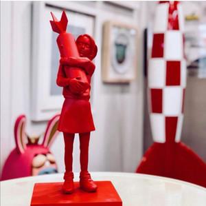Arte moderno Lujoso 32 cm MedicomToy Banksy Bomb Hugge Flygirl Art Resin Statue Creative Home Regalos Decoración de escritorio