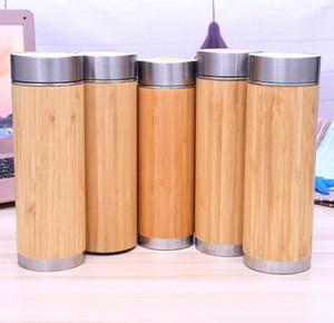 Bambu Paslanmaz Çelik Su Şişesi Vakum Yalıtımlı Kahve Seyahat Vakum Fincan Çay Demlik Süzgeç Ile 450 ml Toptan