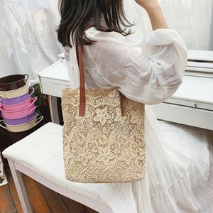 Fashion Lace Hollow Versatile Women's Handbags Casual Totes Embroidered Vintage Designer Straw Beach Ladies Shoulder Bags