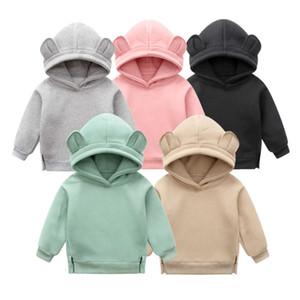 Orangemom baby мальчики девушки одежда зимний весенний свитер милый ухо капюшон корейский утолщение флисовые свинцы детская одежда