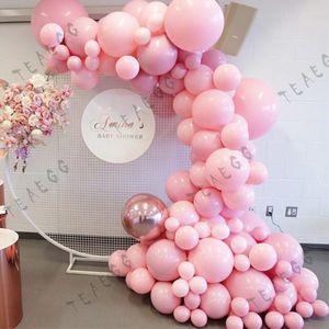 120 stücke Pastell Makaron Rosa Gold Ballon Dekoration Kulisse Rose Gold 4D Foil Ballons Girlande Bogen Kit Für Hochzeit Party Globo T200624