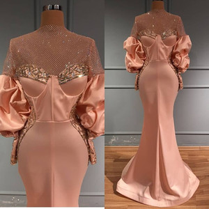 Aso Ebi 2020 Arabic Luxurious Beaded Crystals Evening Dresses Mermaid Sexy Prom Dresses Long Sleeves Formal Party Second Reception Gowns ZJ3