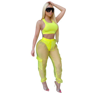 Verano de las mujeres chándales de diseño 2pcs mangas Tops Pantalones Perspectiva sistemas de la ropa de moda del color sólido ropa casual para mujeres