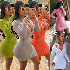 Vestido de las mujeres impresas de la cremallera del color sólido de la moda delgado atractivo de la falda de las señoras de los vestidos ocasionales más el tamaño de múltiples colores disponibles Nueva Venta caliente