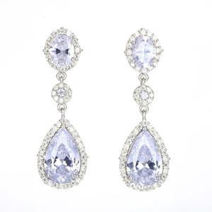 Classcial Cubic Zirconia Teardrop Dangle Earrings 925 Sterling Silver Needle Drop Earrings for Women Girls Wedding Party Jewelry Gift