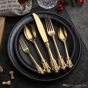 -Alto grado argento set retro posate e set coltello posate in acciaio inox cucchiaio forcella 5 pezzi set di stoviglie stoviglie oro