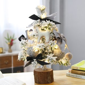 Christmas decorations flocking desktop Christmas Tree Mall restaurant window ornaments mini Christmas tree