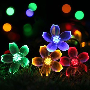 Flower Shape Solar Lamps LED String Lights LEDS Outdoor Fairy Holiday Christmas Party Garlands Solar Lawn Garden Lights Waterproof