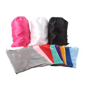 Luxury silky 28X40cm Plain Big size Virgin hair wig packaging satin bags shoe hair dryer storage packing bags