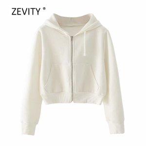 Zevity Sıcak Satış Yeni Kadınlar katı beyaz renk gündelik kapüşonlu sweatshirt bayanlar fermuarlı cebi hoodies marka şık üstleri S319 201008