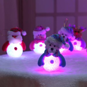Cute Santa Claus LED Fiber Optic Nightlight Christmas Snowman Lamp Light Xmas Gift Mini Table Christmas Tree Decor For Home 2020