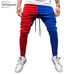 SITEWEIE Men Personality Panelled Sweatpants Hip Hop Casual Pants Joggers Sportswear Tracksuit Bottoms Skinny Sweat Trouser L449 201109