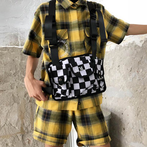 Tela ajustable en blanco y negro para Hip Hop Streetwear Hombres Mujeres Tactical Tactical Rig Chaleco Bolsa Bolsa Paquetes de cintura C13 Q1221