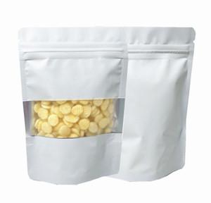 100pcs lot Matte White Aluminum Foil Food Doypack Zip Lock Package Bag With Window Reclosable Mylar Zipper Pouch wmtKJl loveshop01