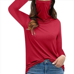 Face Womens Tops And Blouses Casual Shirt Loose With Turtleneck Soild Cover Shiled Mouth Sleeve Long Face Mask Tops Blouse 40 Fscax