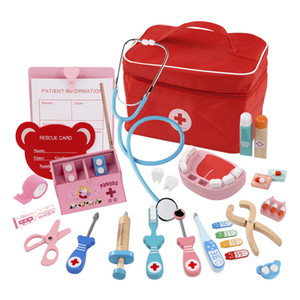Simulation Play House Toy Pretend Play Wooden Doctor Toy Red Cloth bag Medical Set Dentist Role Playing Toy For Children Kids 201021