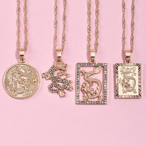 Colar brilhante Rhinestones múltipla Moda Mulheres de ALYXUY Dragão Colares do por Mulheres Colar da cor do ouro festa de jóias