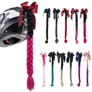 New Motorcycle Helmet Braids Woman Braids Wig For Motorbike Helmets 11 Colors Twist Dual Pigtail Ponytail With Sucker Bow