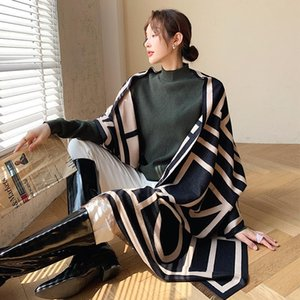 Fashion Thickened Cashmere two-sided scarf winter popular stripe print warmth soft Shawls new style Lady Autumn wool Beach towel