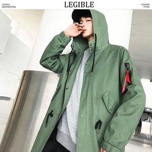 Legible Long Jacket Mens Primavera Outono Coreano Loose Homens Casuais Windbreaker Solid Trench Coat para Men1