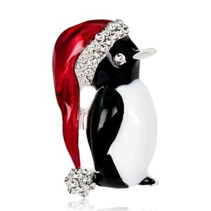 Merry Christmas Cute Penguin Crystal Brooch Pin Women Girls Jewelry Party Gift Alloy Brooches Holiday Gifts Jewelry Accessories