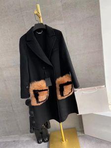 2021 Otoño Invierno leve Calidad de lujo cauce de la manera Diseño fino de lana 100% real de piel de zorro bolsillos del abrigo 201104