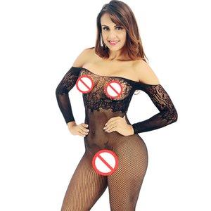 2019 Biancheria intima porno Sleepwear Fishnet Nightie Sexy Bodystocking BodySocks Open Crotch Socks Nightwear Crotchless Bodyless