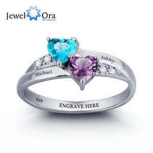 Personalized Engrave Name DIY Birthstone Love Promise Ring 925 Sterling Silver Heart Rings Free Gift Box (JewelOra RI101781)