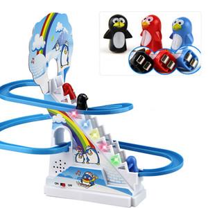مضحك البطريق تسلق سلالم الموسيقى لعب للأطفال الوالدين والطفل لغز البطريق الشريحة التفاعلية اللعب الكهربائية railcar الموسيقى Q0115