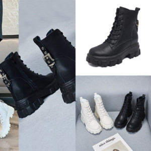 Tcny Top Laureate QualityBottes Mulheres Botas Amor Não-Slip Womens Preto Real Leather Medal Botas Grossas Botas de Inverno