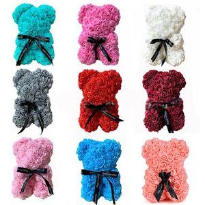 رغوة الصابون الدب 25 سنتيمتر الورود دمية دب روز زهرة الاصطناعي السنة الجديدة هدايا للنساء عيد الحب هدية عيد