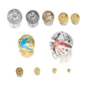 10 200pcs Lot 4 20mm Gold Métal Round Spacer Beads Perle creuse en filigrane pour bricolage Bracelet Collier Collier Bijoux Fournitures H Jlloix